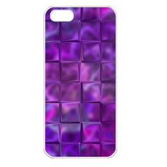 Purple Squares Apple Iphone 5 Seamless Case (white) by KirstenStar