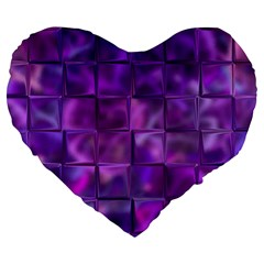 Purple Squares Large 19  Premium Heart Shape Cushion by KirstenStar
