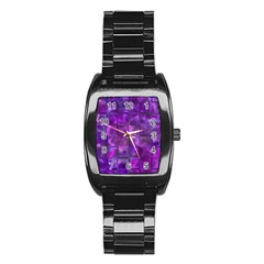 Purple Squares Stainless Steel Barrel Watch by KirstenStar