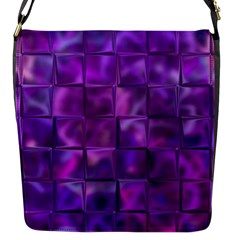Purple Squares Flap Closure Messenger Bag (small) by KirstenStar