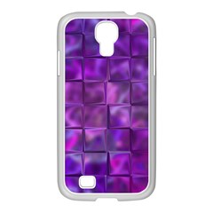 Purple Squares Samsung Galaxy S4 I9500/ I9505 Case (white) by KirstenStar