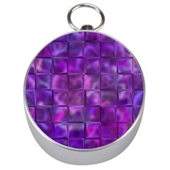 Purple Squares Silver Compass by KirstenStar