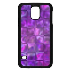 Purple Squares Samsung Galaxy S5 Case (black) by KirstenStar