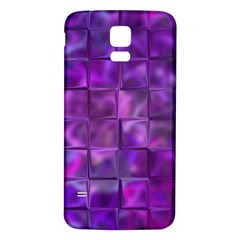 Purple Squares Samsung Galaxy S5 Back Case (white) by KirstenStar