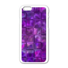 Purple Squares Apple Iphone 6 White Enamel Case by KirstenStar