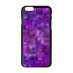Purple Squares Apple Iphone 6 Black Enamel Case by KirstenStar
