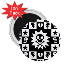 Goth Punk Skull Checkers 2 25  Button Magnet (100 Pack) by ArtistRoseanneJones