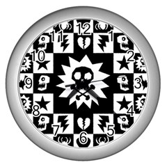 Goth Punk Skull Checkers Wall Clock (silver) by ArtistRoseanneJones