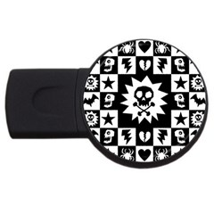 Goth Punk Skull Checkers 4gb Usb Flash Drive (round) by ArtistRoseanneJones