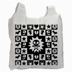Goth Punk Skull Checkers White Reusable Bag (two Sides) by ArtistRoseanneJones