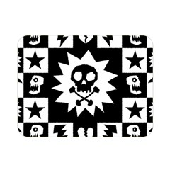 Goth Punk Skull Checkers Double Sided Flano Blanket (mini) by ArtistRoseanneJones