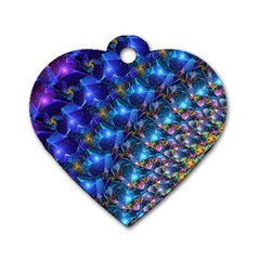Blue Sunrise Fractal Dog Tag Heart (two Sides) by KirstenStar