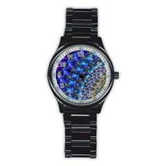 Blue Sunrise Fractal Stainless Steel Round Watch by KirstenStar