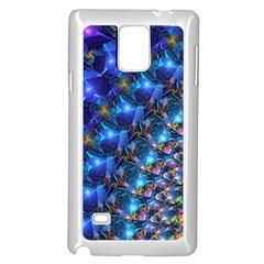 Blue Sunrise Fractal Samsung Galaxy Note 4 Case (white) by KirstenStar