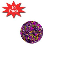 Purple Tribal Abstract Fish 1  Mini Button Magnet (10 Pack) by KirstenStar