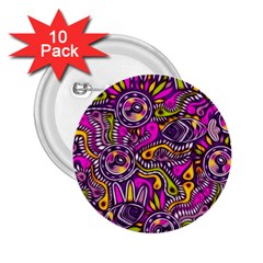 Purple Tribal Abstract Fish 2 25  Button (10 Pack) by KirstenStar