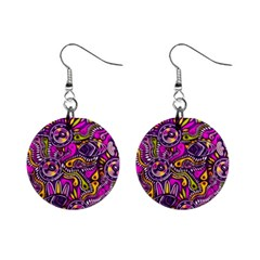 Purple Tribal Abstract Fish Mini Button Earrings by KirstenStar