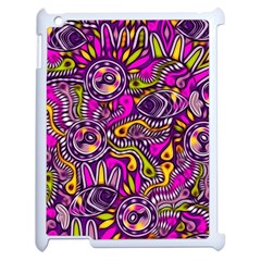 Purple Tribal Abstract Fish Apple Ipad 2 Case (white) by KirstenStar