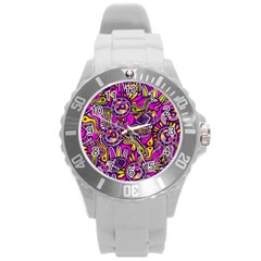 Purple Tribal Abstract Fish Plastic Sport Watch (large) by KirstenStar