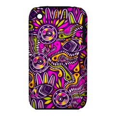 Purple Tribal Abstract Fish Apple Iphone 3g/3gs Hardshell Case (pc+silicone) by KirstenStar