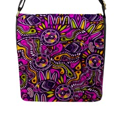 Purple Tribal Abstract Fish Flap Closure Messenger Bag (l) by KirstenStar