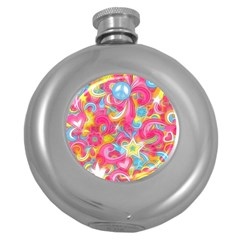 Hippy Peace Swirls Hip Flask (round) by KirstenStar