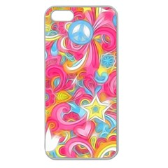 Hippy Peace Swirls Apple Seamless Iphone 5 Case (clear) by KirstenStar