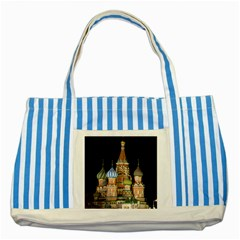 Saint Basil s Cathedral  Blue Striped Tote Bag by anstey