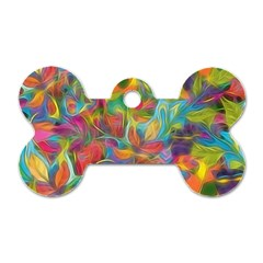 Colorful Autumn Dog Tag Bone (one Sided)
