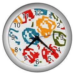 Colorful Paint Stokes Wall Clock (silver) by LalyLauraFLM