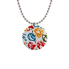 Colorful Paint Stokes 1  Button Necklace by LalyLauraFLM