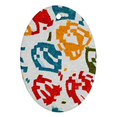 Colorful Paint Stokes Oval Ornament (two Sides) by LalyLauraFLM