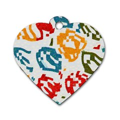 Colorful Paint Stokes Dog Tag Heart (two Sides) by LalyLauraFLM