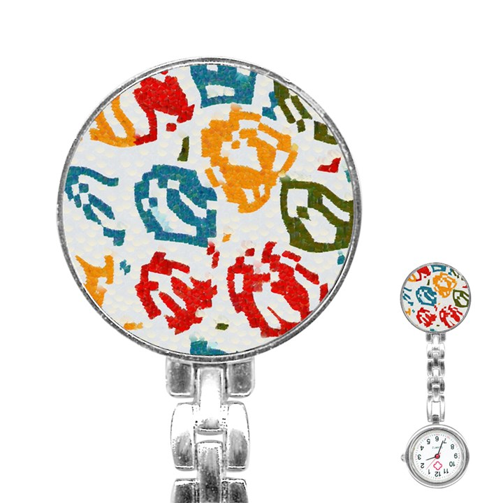 Colorful paint stokes Stainless Steel Nurses Watch