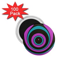 Distorted Concentric Circles 1 75  Magnet (100 Pack)  by LalyLauraFLM