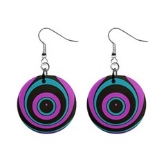 Distorted Concentric Circles 1  Button Earrings by LalyLauraFLM