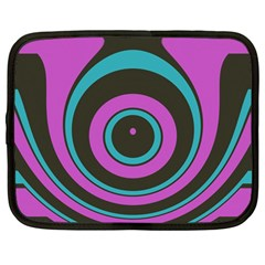 Distorted Concentric Circles Netbook Case (large)	 by LalyLauraFLM
