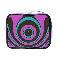 Distorted Concentric Circles Mini Toiletries Bag (one Side) by LalyLauraFLM