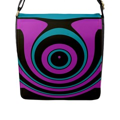 Distorted Concentric Circles Flap Closure Messenger Bag (l) by LalyLauraFLM