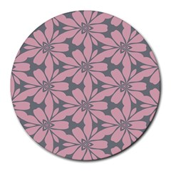 Pink Flowers Pattern Round Mousepad by LalyLauraFLM