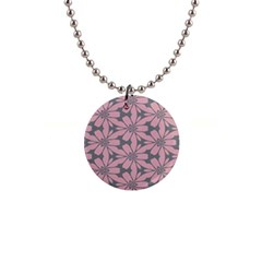 Pink Flowers Pattern 1  Button Necklace by LalyLauraFLM