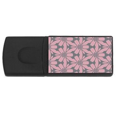 Pink Flowers Pattern Usb Flash Drive Rectangular (4 Gb) by LalyLauraFLM