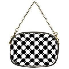 Black And White Polka Dots Chain Purse (one Side)