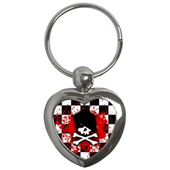 Emo Skull Key Chain (heart) by ArtistRoseanneJones