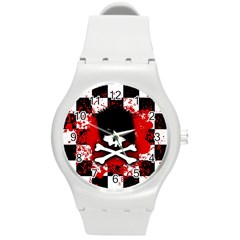 Emo Skull Plastic Sport Watch (medium) by ArtistRoseanneJones