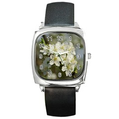 Spring Flowers Square Leather Watch by anstey