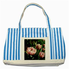 Tulips Blue Striped Tote Bag by anstey