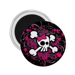 Girly Skull And Crossbones 2 25  Button Magnet by ArtistRoseanneJones