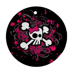 Girly Skull And Crossbones Round Ornament