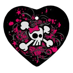 Girly Skull And Crossbones Heart Ornament by ArtistRoseanneJones